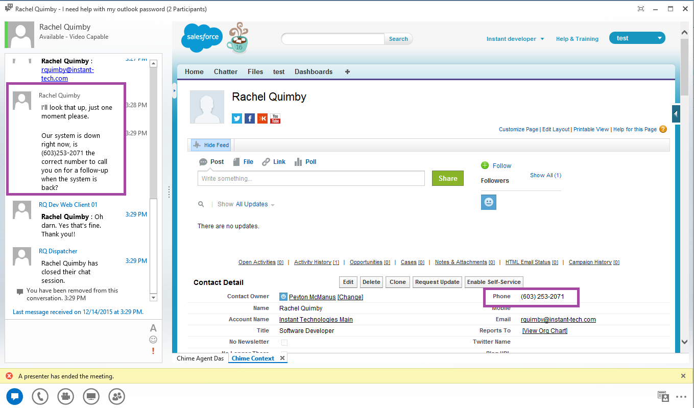 If the seeker has a Salesforce profile, it will be displayed to the agent.