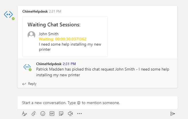 Help desk agent experience while working on a Chime Service Desk integrating with Microsoft Teams