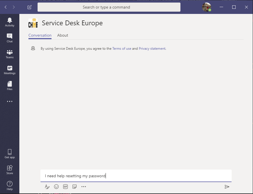Chime for Microsoft Teams service desk introduction